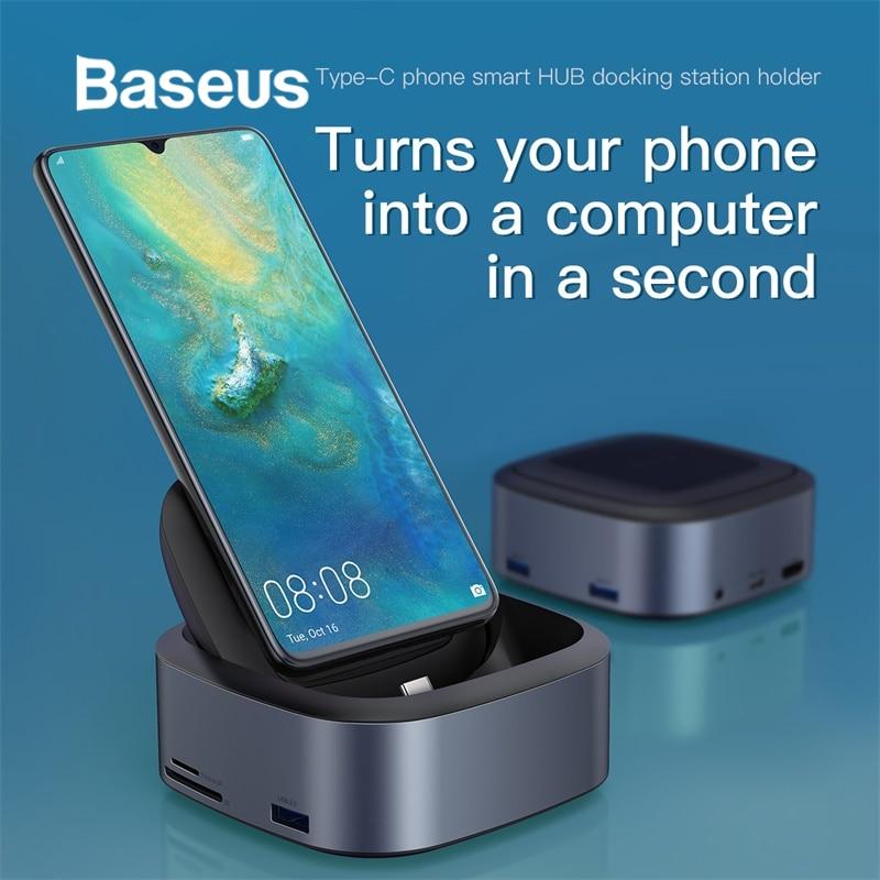 Moyeu de téléphone Baseus type-c Station d'accueil Multi USB C HUB USB Tpye C Dock HDMI avec adaptateur secteur pour accessoire PC Huawei p20 pro