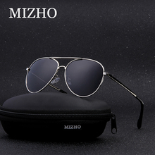 ФОТО mizho hot elastic support leg classic aviation metal sunglasses for men polarized uv400 protector driver eye glasses women uv400