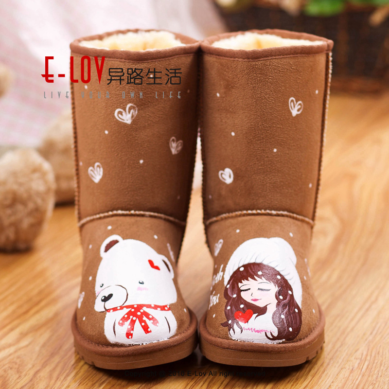 ФОТО E-LOV Customed shoes bear&girl superstar winter boots chlidren winter shoes botas warm hand-painted high wedges boots