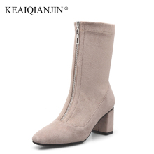 KEAIQIANJIN Woman Gothic Shoes Genuine Leather Rivet Punk Boots Autumn Winter Black Lace-Up Genuine Leather Ankle Boots 2017