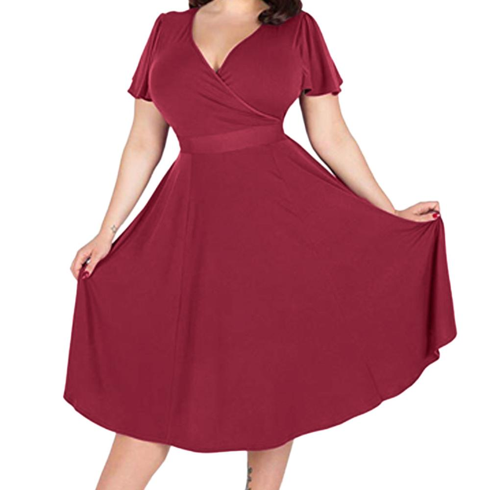 JAYCOSIN 2019 New Summer Women Dress Elegant Plus Size Solid Short Sleeve V-Neck Elegant With Waistband Party Sundress 9031926