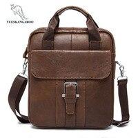 YUESKANGAROO Top Quality 100 Genuine Leather Men IPad Tabelt Cowskin Crossbody Bag Men S Messenger For