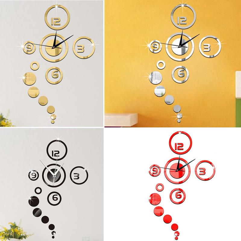 Removable mirror style wall wall clock wall stickers for 7p decoration
