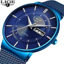 LIGE men watches Top brand luxury watch for Male Simple all steel waterproof wristwatch Blue Quartz Date Clock Reloj Hombre+Box цена 2017