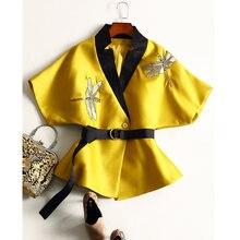 New arrive 2016 women's autumn runway fashion Windbreaker embroidery designer trench coat Elegant casual vintage outwear D6904