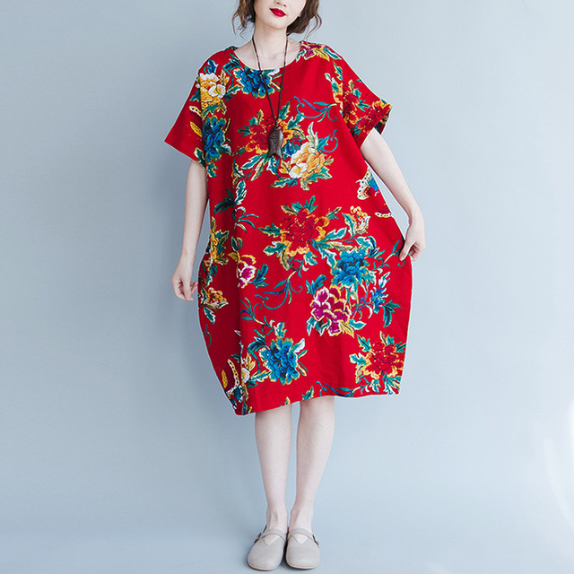 d00ad697993 Chinese Style Red Floral Pirnted Women Cotton Dress Plus Size Loose Robe  Vintage Linen Dresses Summer 2018 Long Vestidos O-Neck