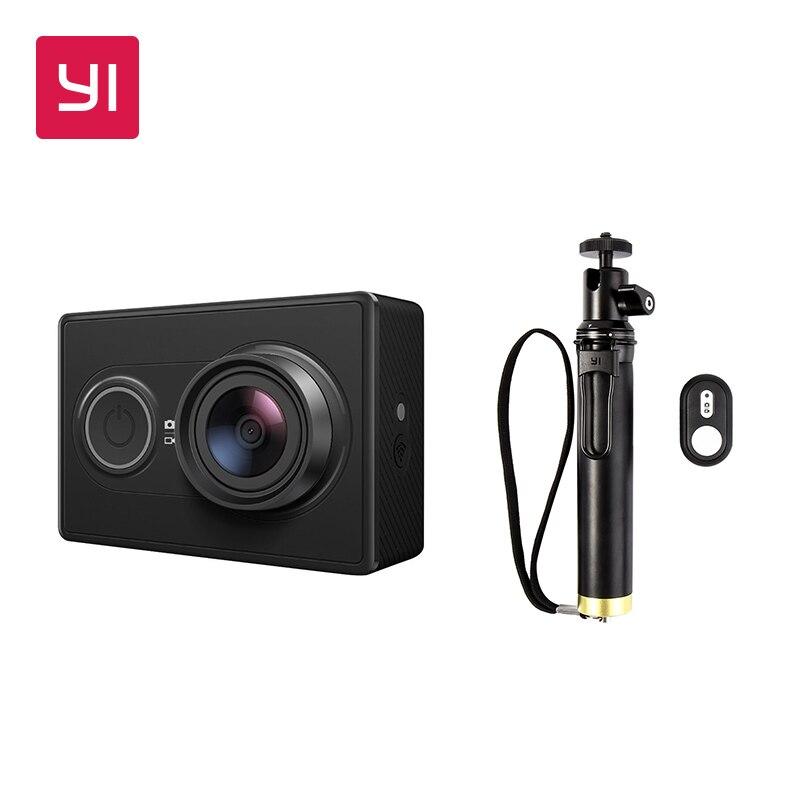 YI 1080P Action Camera Black With Selfie Stick Bundle International Version Mini Sports Camera