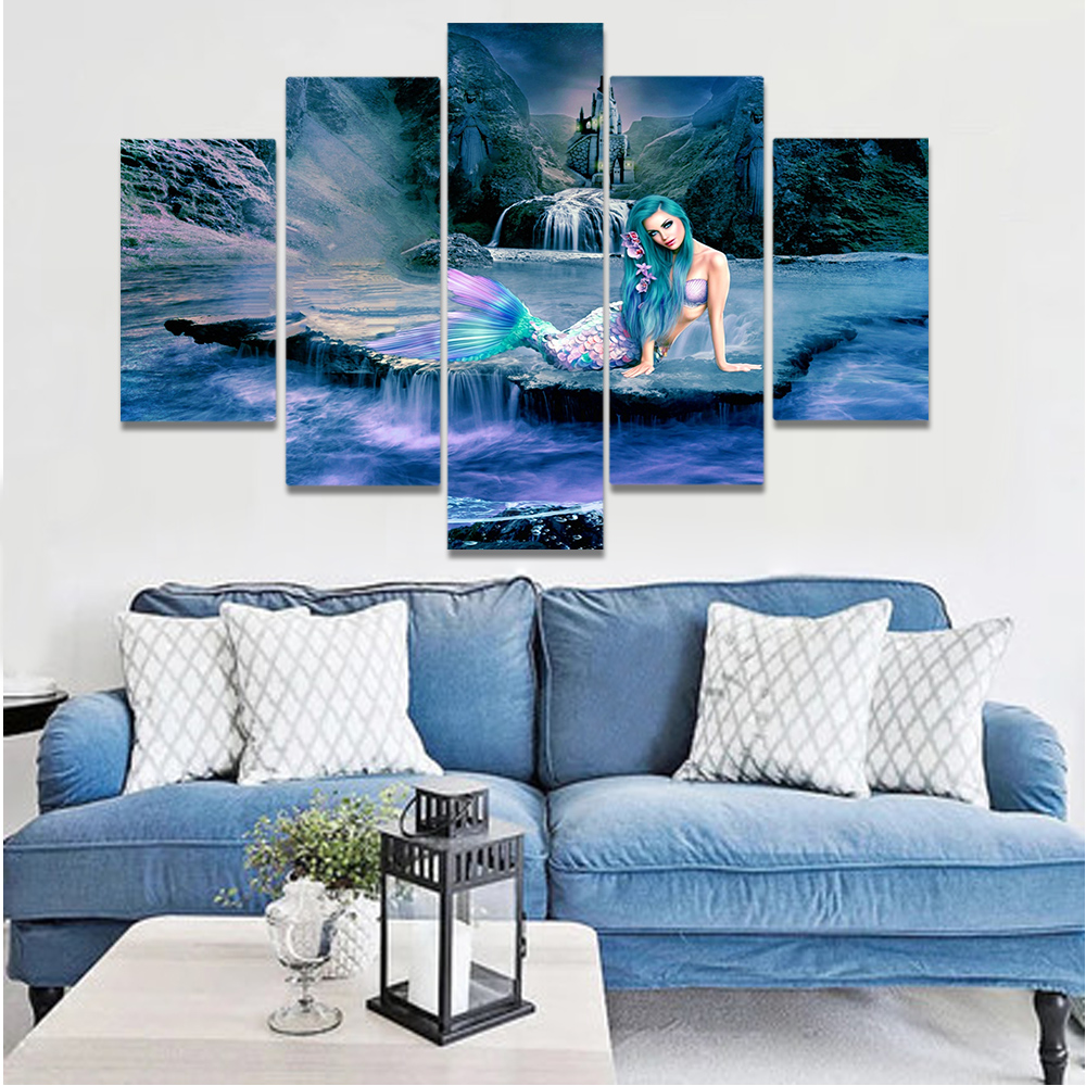 Unframed Canvas Painting Mermaid Sea Reef Science Fiction Art Picture Prints Wall Picture For Living Room Wall Art Decoration