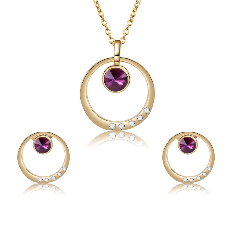1Set Necklace Earrings Bride Wedding Women Jewelry Noble Rhinestone Ring Pendant Link Chain Necklace Costume Jewelry sets