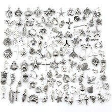 120 шт./лот, смешанные Античные Серебристые европейские браслеты, Очаровательные Подвески, модные ювелирные изделия, сделай сам, Подвески ручной работы