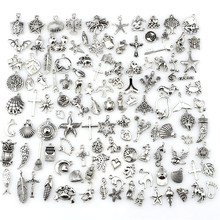 Colgante de estrella de mar y Tortuga de animales mezclados, pulseras, collares, fabricación de joyería hecha a mano, 120 unids/lote