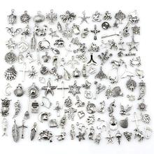 120pcs/lot Mixed Antique Silver Color European Bracelets Charm Pendants Fashion Jewelry Making Findings DIY Charms Handmade