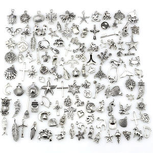 Jewelry-Making-Findings Charm Pendants Mixed European-Bracelets DIY Silver-Color Antique