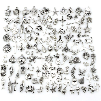 120pcs/lot Mixed Antique Silver Color European Bracelets Charm Pendants Fashion Jewelry Making Findings DIY Charms Handmade 50g 100g letters mixed charms pendants vintage antique bronze silver bracelets necklaces craft metal alloy diy jewelry making