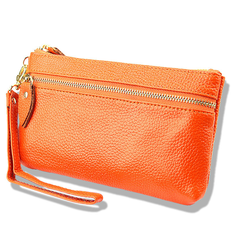 Wallets Clutch-Bags Purses-Cowhide-Handbags Wristlet Zipper-Change Candy-Color Genuine-Leather