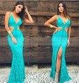 Vestido turquesa 2017 sexy profundo decote em v azul turquesa vestidos de baile sereia cut out cintura frente dividir festa homecoming dress