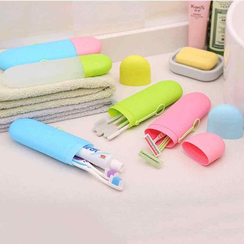 แปรงสีฟันพกพายาสีฟันผู้ถือกล่องถ้วยกลางแจ้งกระเป๋าเดินทางซักผ้ากล่องเก็บ Organizer