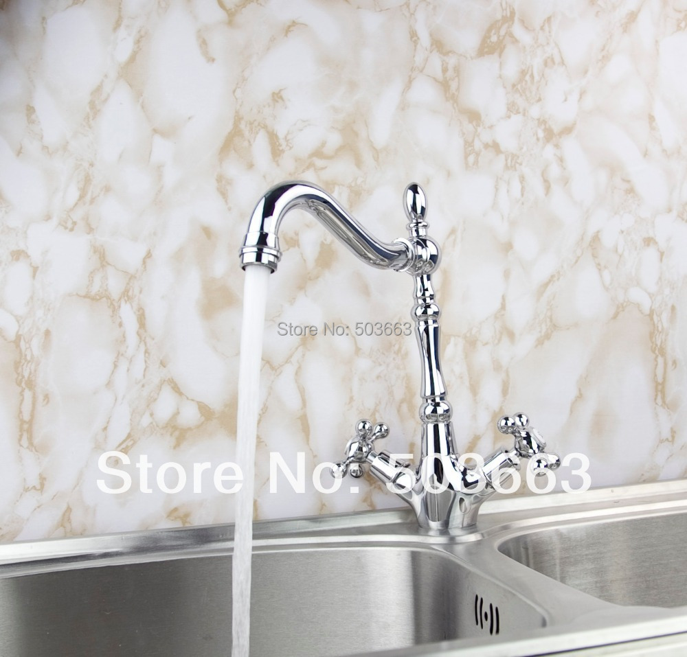 Newly Swivel Chrome Brass Kitchen Faucet Spout Vessel Basin Sink Double Handles Deck Mounted Mixer Tap MF-450 Mixer Tap Faucet newly chrome brass water kitchen faucet swivel spout pull out vessel sink single handle deck mounted mixer tap mf 302