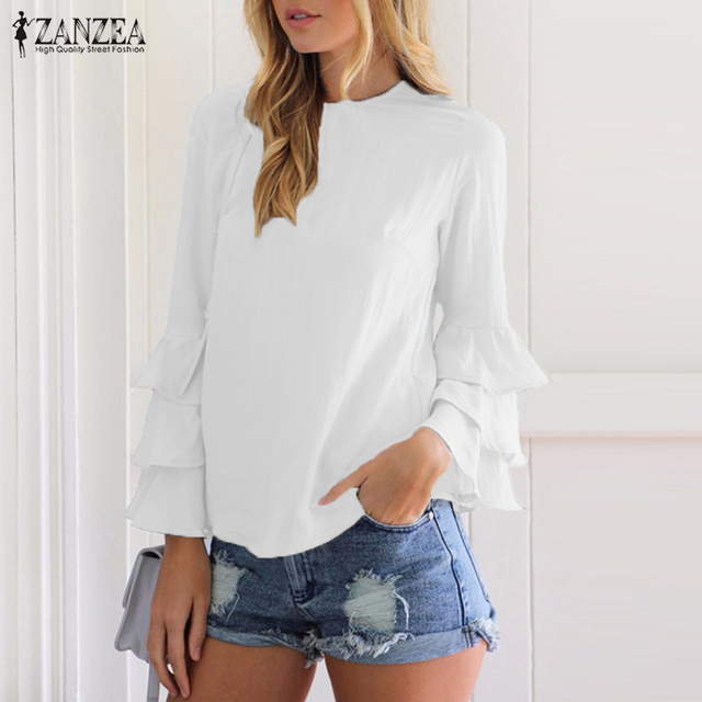 ZANZEA Women Blouses Shirts 2018 Autumn Elegant Ladies O-Neck Flounce Long Sleeve Solid Blusas Casual Loose Tops 2