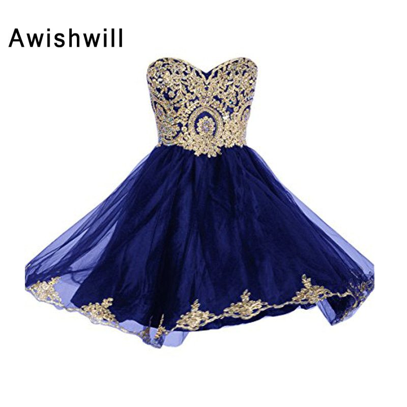 New Arrival Sweetheart Neckline Beaded Gold Lace Appliques Sleeveless Short Prom Dress Homecoming Dress Cheap Party Dress 2019