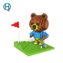 Mini Nano Blocks BROWN BEAR playing Golf LOZ Building Blocks Bear Action Figure Diamond Blocks Compatible Legoelieds 9427