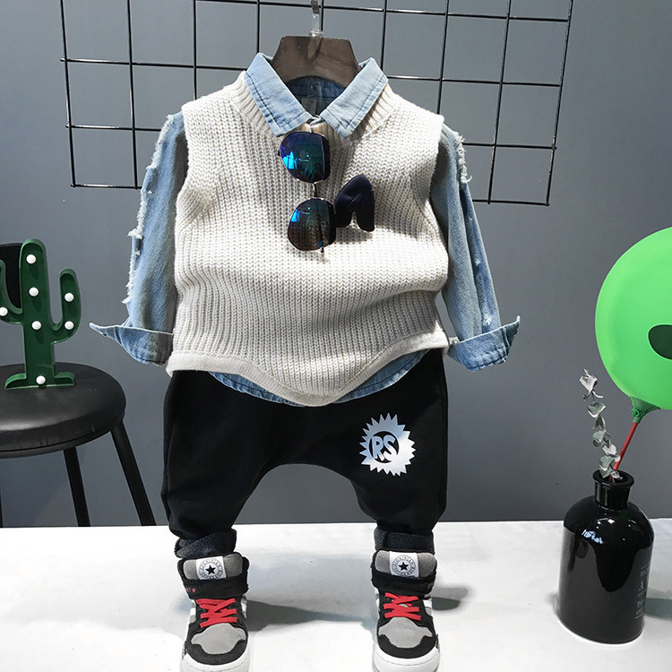 3pcs WNLEIGEL boys spring autumn clothing set kids beige sweater ripped jean shirt and black pant set baby casual clothes3pcs WNLEIGEL boys spring autumn clothing set kids beige sweater ripped jean shirt and black pant set baby casual clothes
