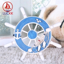 LUCKK 32CM Wooden Ship Rudder Model Wall Hanging Light Blue And Fish Net Home Decoration Sea Style Wood For Crafts Loft Creative подсак snowbee wooden sea trout net