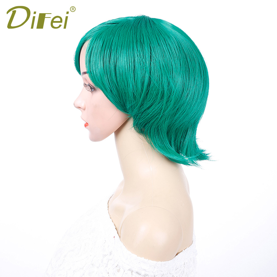 Green Short Straight Wig Costume Party 9 Colors Fashion Synthetic Hair High Temperature Fiber Cosplay Wig For Women DIFEI