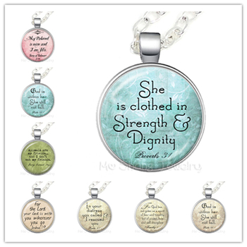 She Is Clothed In Strength & Dignity Glass Choker Necklace Gift For Myself Friends Motivating People Famous Aphorism image