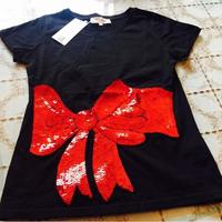 2017 spring and summer women new sequins red bow short sleeve cotton T-shirt