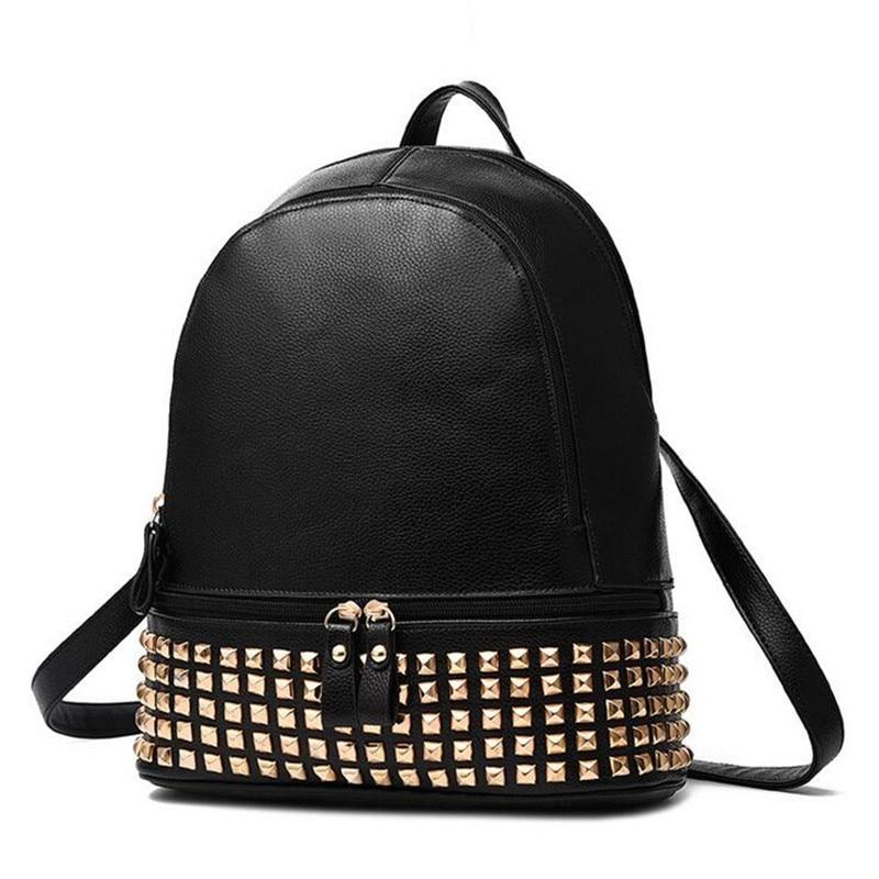 ФОТО Fashion Women PU Leather Rivet Backpack Women's Backpacks for Teenage Girls Ladies Travel Bags with Zippers Black Shoulder Bag