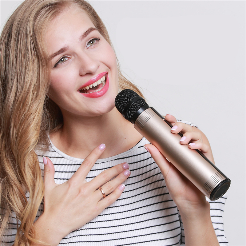 Qiateng New Bluetooth Wireless Condenser Magic Karaoke Microphone Mobile Phone Player MIC Speaker Record Music Bluetooth Speaker qiateng bluetooth speaker v4 1 wireless karaoke player microphone with mic ktv singing record microphone for smartphone computer
