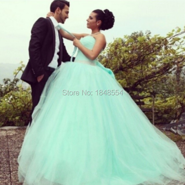 Mzy058 Sweetheart Pleated Strapless Light Green Ball Gown Wedding Dress With Beaded Belt In Dresses From Weddings Events On Aliexpress