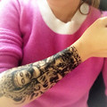 2PC  Black Death Arm Tattoos Temporary Tattoo Men 21*15cm Bodhisattva Waterproof  Fake Arm Sleeve Temporary Tattoo Sticker
