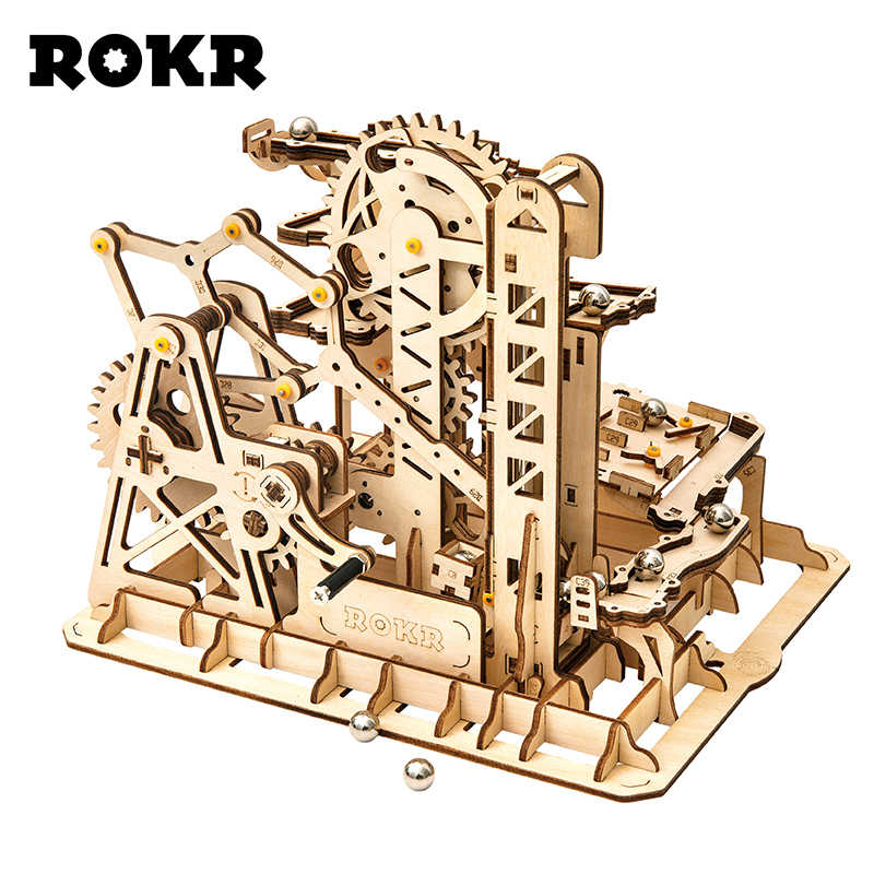 ROKR DIY Marble Run Game 3D Wooden Puzzle Gear Drive Tower Coaster Model Building Kit Toys for Children Adult LG504