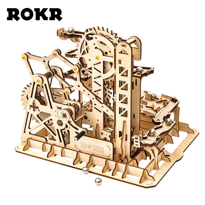 US $28 79 52% OFF|ROKR DIY Marble Run Game 3D Wooden Puzzle Gear Drive  Tower Coaster Model Building Kit Toys for Children Adult LG504-in Model