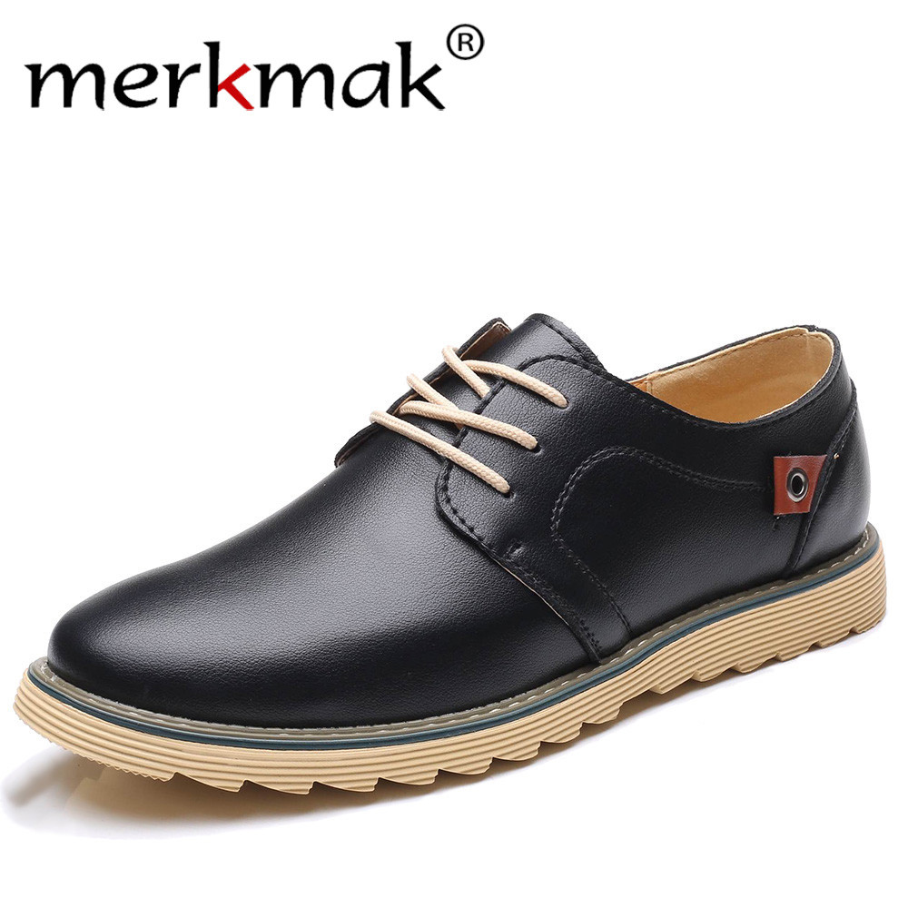 Merkmak Men Casual Leather Shoes Luxury Brand Designer Shoes for Men Comfortable Big Size 37-48 Oxfords Dress Formal Foowear cbjsho brand men shoes 2017 new genuine leather moccasins comfortable men loafers luxury men s flats men casual shoes