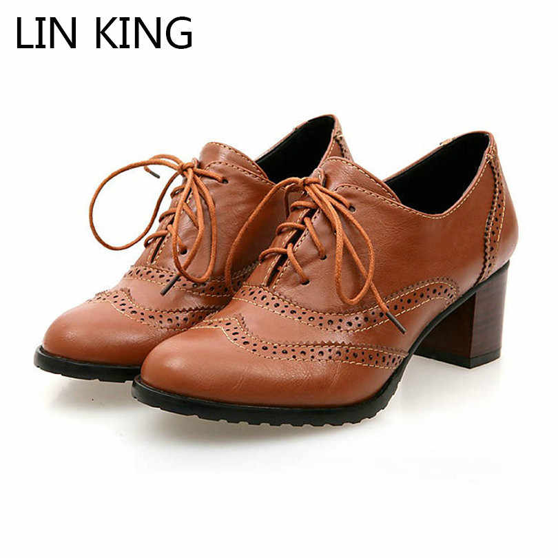LIN KING Spring Vintage Woman Lolita Pumps Lace Up Thick Heel Women Single Shoes Big Size 34-43 High Heels Female Oxfords Shoes
