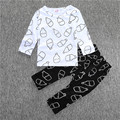 Baby boy girl  long sleeve clothes cotton clothing sets Milk bottle printing soft white T-shirt+ black Pants