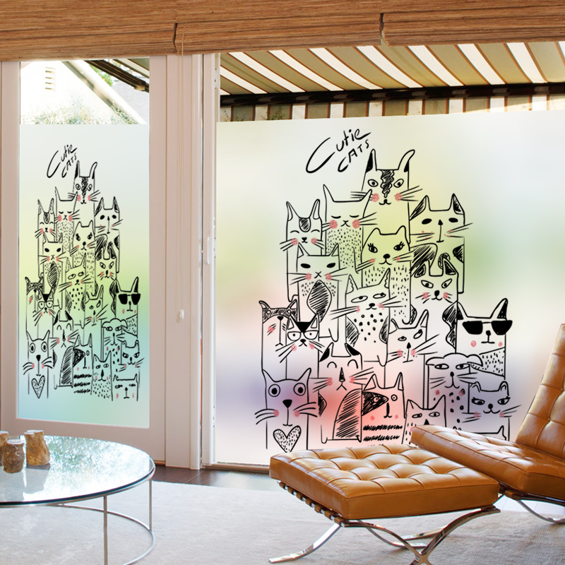 Customized Static Cling Stained Glass Window Film Frosted & Opaque Privacy Home Decor Digital print Removable BLT75 Cats Story