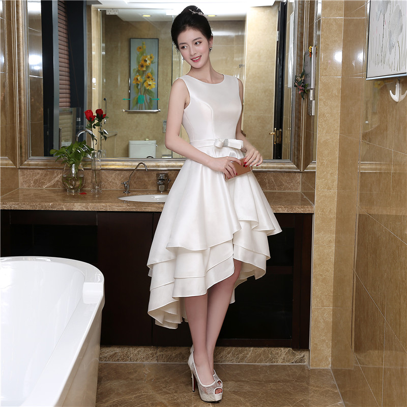 Free Shipping  Beading White Short Homecoming Dresses Asymmetrical Graduation Dress Tiered Sheer 1228H