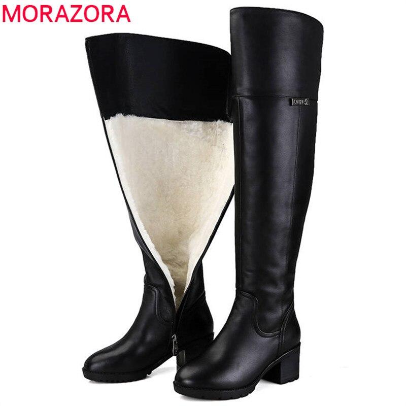 MORAZORA 2018 hot-dessus du genou bottes garder au chaud Véritable Laine De Fourrure En Cuir Femmes Bottes carré talons hauts hiver neige bottes la russie