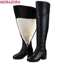 MORAZORA 2020 حار فوق الركبة الأحذية الدفء جلد طبيعي الفراء الصوف النساء الأحذية مربع عالية الكعب الشتاء الثلوج الأحذية روسيا