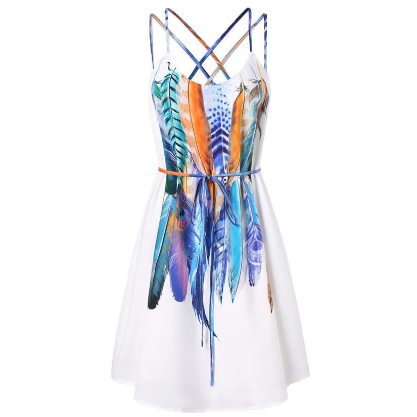 Women Multicolor Feathers Printed Dress Summer Spaghetti Strap Dresses Ladies Crisscross Back Vacation Bohemian Dress #L day dress