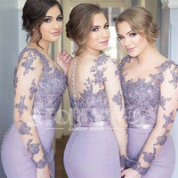 Romantic Long Sleeve Lilac Mermaid Bridesmaid Dresses Vestido Para Madrinha 2019 Sheer Lace Appliques Formal Dress Abendkleider