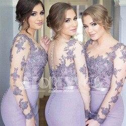 Romantische Lange Mouwen Lilac Mermaid Bruidsmeisjekleding Vestido Para Madrinha 2019 Sheer Kant Applicaties Formele Jurk Abendkleider