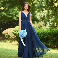 Tanpell backless bridesmaid dresses dark navy sleeveless floor length a line gown women wedding party formal bridesmaid dress