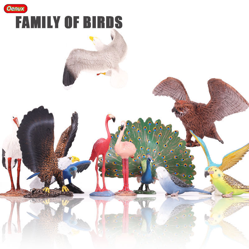 Oenux Bird Animals Flamingos Macaw Pelican Flamingo Snowy Owl Bird World Solid PVC Model Action Figures Toy For Kids Xmas Gift lps toy bag 18pcs pet shop animals cats kids children action figures pvc lps toy birthday christmas gift