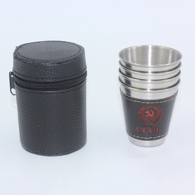 2016 Newest 4pcs/lot 70mL Cups Set 304 Stainless Steel Cups Wine Beer Whiskey Mugs Outdoor Travel Mug with Mug Sleeve for Free