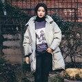 Mulheres Jaqueta de inverno Hoodied 2016New Moda Gola Pato Branco Para Baixo Mulheres Casaco de Inverno Coreano de Slim Parkas Médio e Longo Fêmea A2664